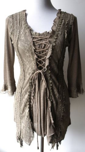 PRETTY-ANGEL-Goth-Victorian-Renaissance-Punk-Fairy-Gypsy-Sexy-BROWN-corset-tunic