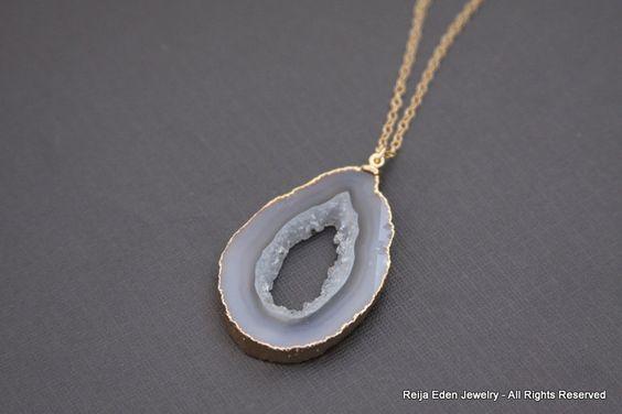 Drusy Necklace, 14K gold filled, Trendy, Fashion Jewelry, Drusy Jewelry. $48.00, via Etsy.