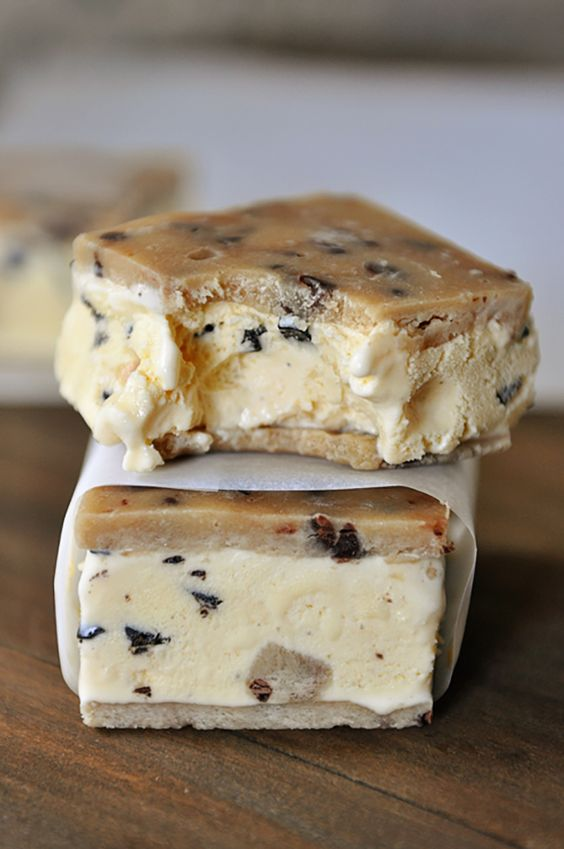 Chocolate Chip Cookie Dough Ice Cream Sandwiches.  Oh my!  This is amazing!!