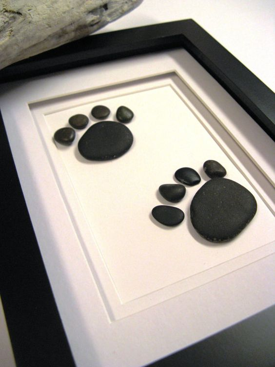 Framed beach stone animal footprints - Stone Art - Gift - Home or Office - Decor