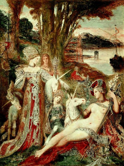 "Gustave Moreau (1826-1898), The Unicorns, Oil on canvas, GUstave Moreau Museum. The theme of this painting was inspired by the six famous tapestries of the La Dame à la Licorne [The Lady and the Unicorn] bought by the Musée de Cluny in 1882. In order to achieve the ""necessary richness"" the pillar of his aesthetic, Moreau blended medieval ornamental motifs with Renaissance motifs, and was quite prepared to look for sources in magazines like Le Magasin pittoresque."