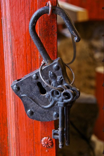Beautiful vintage lock and key home security