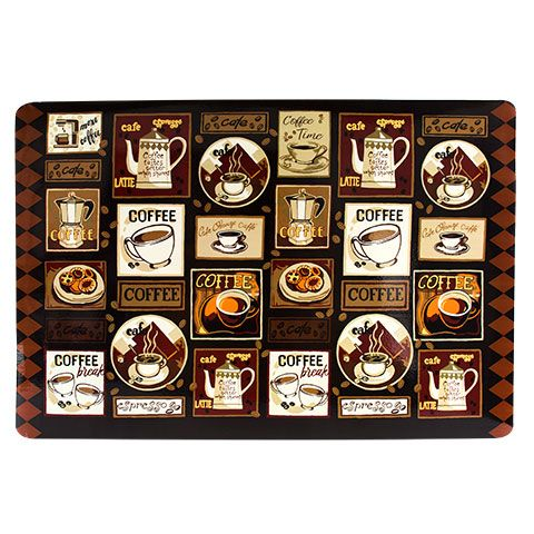 Home Collection Coffee Themed Vinyl Placemats 12x18 In Placemats Home Collections Vinyl