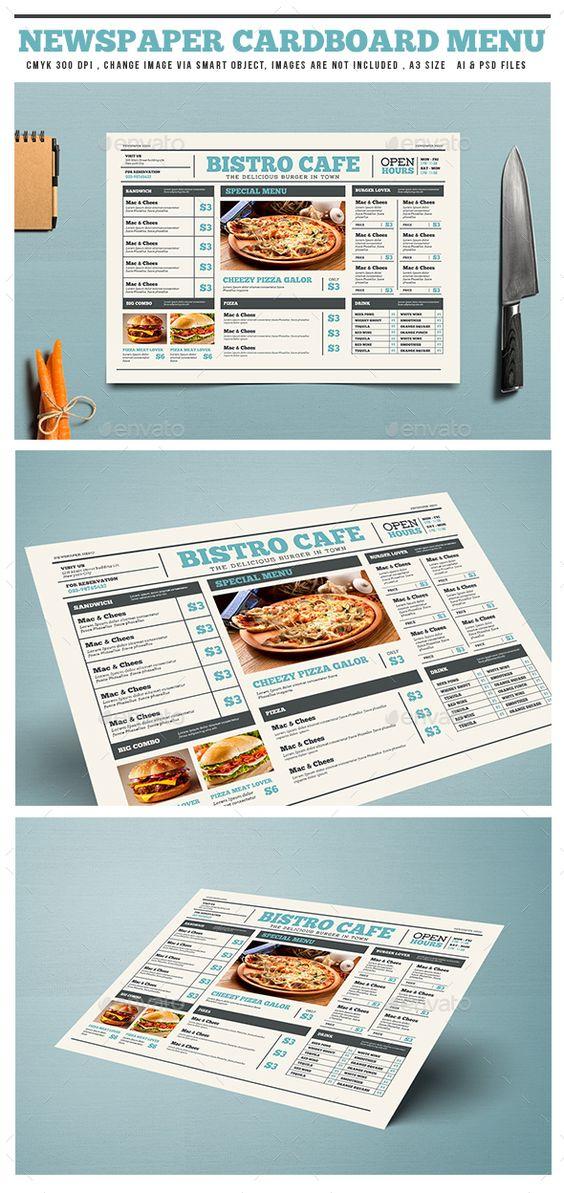 Newspaper Style Cardboard Menu  — PSD Template #newspaper #restaurant #bistro…