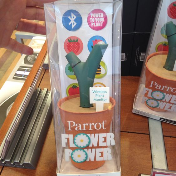 Parrot Flower Power from Brookstone tells u what your plant needs and is Bluetooth! Perfect for orchids! I kill those