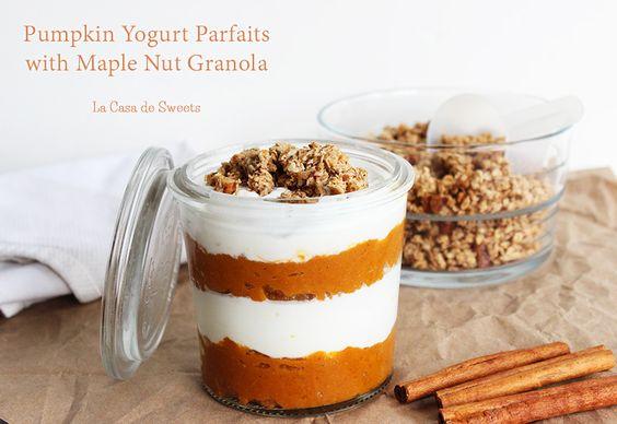 Pumpkin Yogurt Parfaits with Maple Nut Granola: