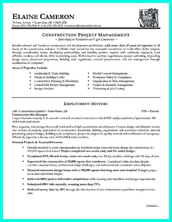 cool Cool Construction Project Manager Resume to Get Applied - construction project manager resume
