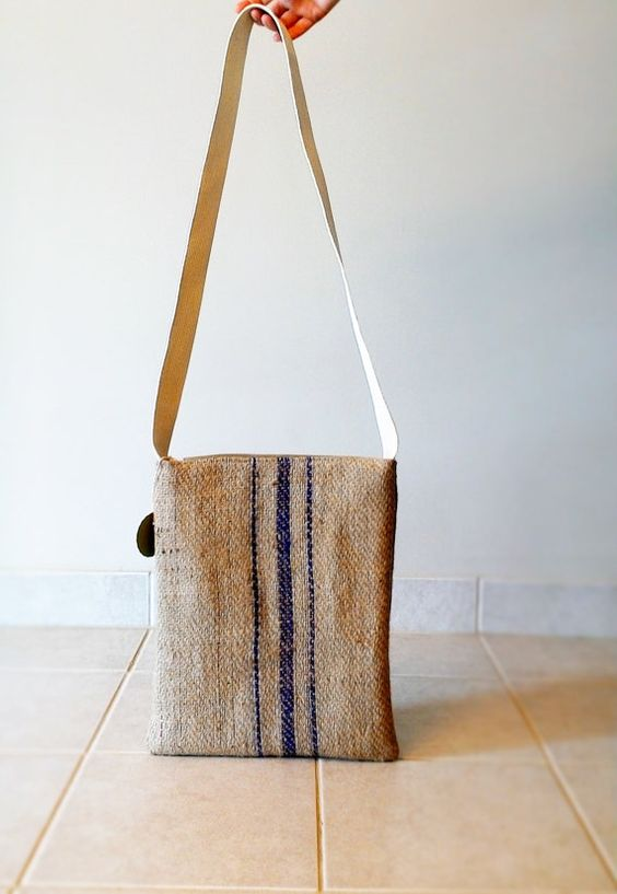 o'coffee burlap tote bag - made in michigan - upcycled
