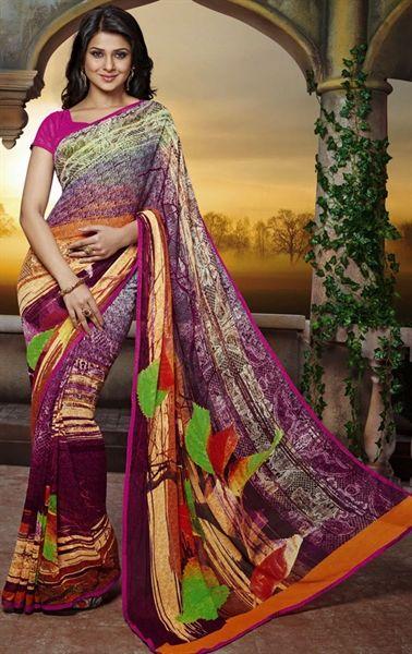Picture of Gorgeous Cream and Magenta Color Saree
