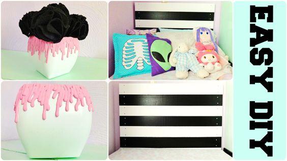 DIY Pastel Goth EASY Room Decor | Paint Drip Vase & Black & White Headbo...
