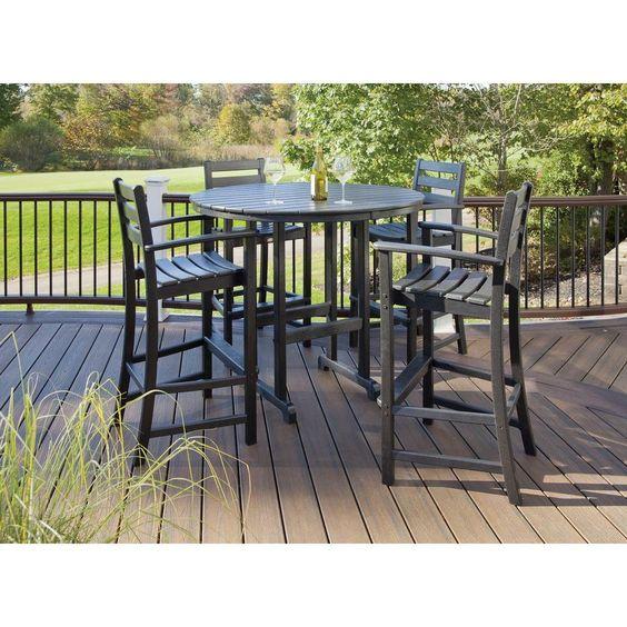 1699 wayfair--10% off? Trex Outdoor Furniture Monterey Bay Charcoal Black 5-Piece Patio Bar Set