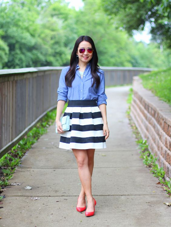 chambray shirt, black and white, stripe skirt, red pumps, mint clutch, iconic look: