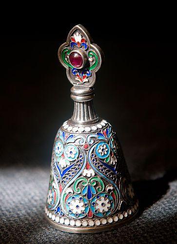 Russian Silver Enamel Perfume Bottle | eBay