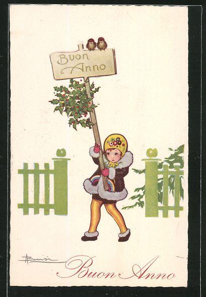 """carte postale ancienne: CPA Illustrateur Adolfo Busi: Fille trägt ein Schild """"Buon Anno"""", Neujahr"""