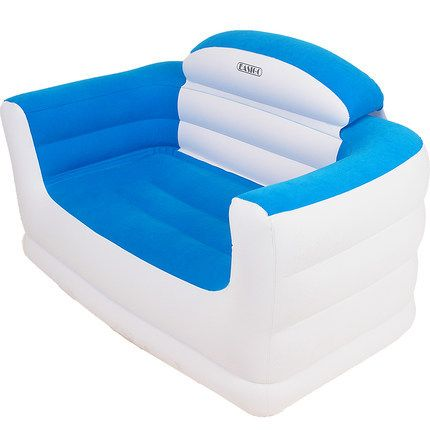Modern Double Seat Inflatable Sofa Leisure Living Room Furniture comfortable Flocking PVC Lounger Sofa Seat White and BLue(China (Mainland))