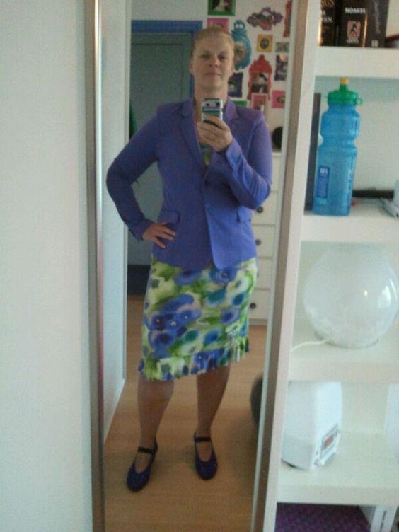 zelfgemaakte jurk, colbert van Exspresso, schoenen Arche