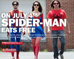 On July 4th Spider-man eats free! Well not just Spider-Man but the first 50 people who dress up in a Spider-Man costume and go to their local Hardee's or Carl's Jr restaurants will receive the Amazing Grilled Cheese Bacon Thickburger for free! If this interests you and you would like to check out what Stan Lee has to say about some Do's & Don't for your costume then you can visit the Hardee's website HERE for more information!