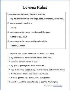 Comma Rules Worksheets   School Stuff   Pinterest   Homeschool ...