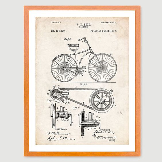 Buy BICYCLE Belt Drive 1890 US Patent Print 18x24 Poster Gift - This will look great in your home or office! by stevesposterstore. Explore more products on http://stevesposterstore.etsy.com