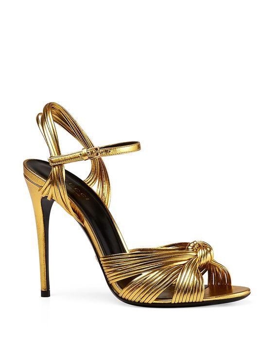 Gucci Allie Metallic High Heel Sandals | Metallic leather upper