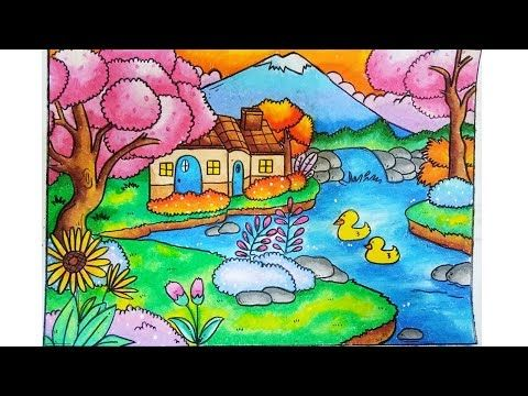 How To Draw Landscape Scenery With House And Waterfall For Kids
