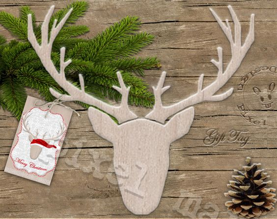 "NORDIC DEER Gift Tag on Wood 1,5""x2,5"" Scandinavian  Woodland Christmas Digital Download Collage Sheet pdf Birch Co5. €2.50, via Etsy."