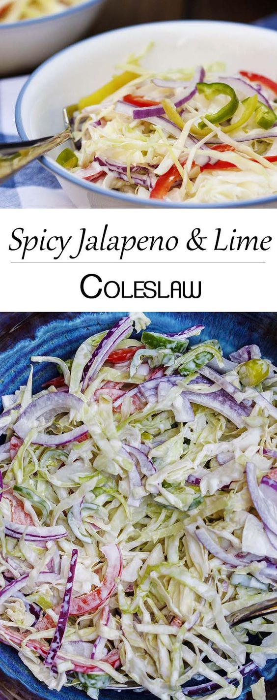Spicy Jalapeno and Lime Coleslaw - This creamy, spicy coleslaw has a ...