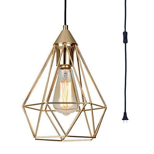 Seeblen Champagne Gold Hanging Light Modern Plug In Penda Https