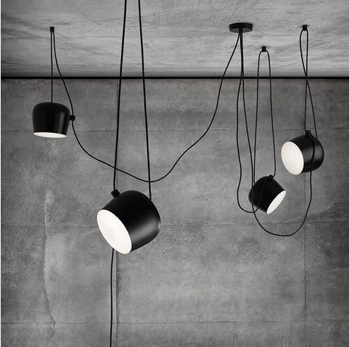 Modern Industrial Iron Spider Drum Pendant Lights Black Suspension Luminaire Bar Living Roo Drum Pendant Lighting Black Hanging Lighting Flos Aim Pendant Light