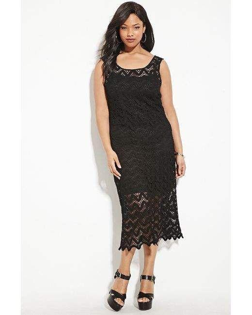 Forever 21 Plus Size Crochet Midi Dress In Black Crochet Midi Dress Midi Dress Sleeveless Fashion