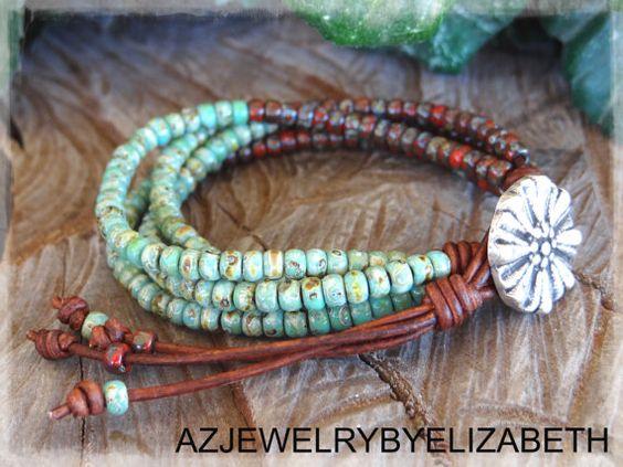 Seed Bead Bracelet Leather Bracelet Beaded от AZJEWELRYBYELIZABETH