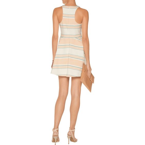 Elizabeth and James - Magdalena Striped Cady Mini Dress ($170) ❤ liked on Polyvore featuring dresses, boyfriend dress, short fitted dresses, striped mini dress, chiffon dresses and white mini dress