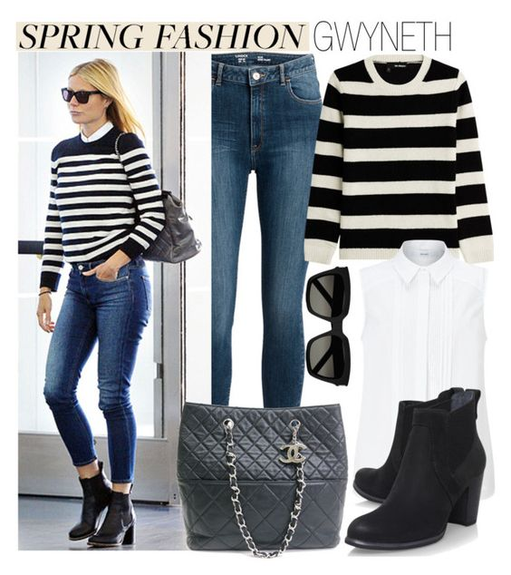 """""""Spring Fashion: Gwyneth Paltrow"""" by eraining ❤ liked on Polyvore featuring The Kooples, John Lewis, Chanel, UGG Australia, Yves Saint Laurent, GetTheLook, StreetStyle, celebstyle and CelebrityStyle"""