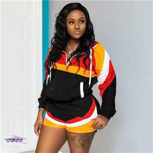 Womens 2 Piece Outfit Colorblock Windbreaker Jacket Pullover Tops and Shorts Sweatsuits Tracksuits Set Outfits