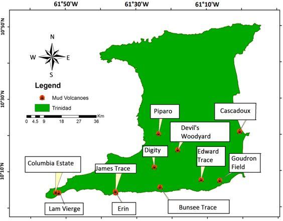 Trinidad map of mud volcanoes