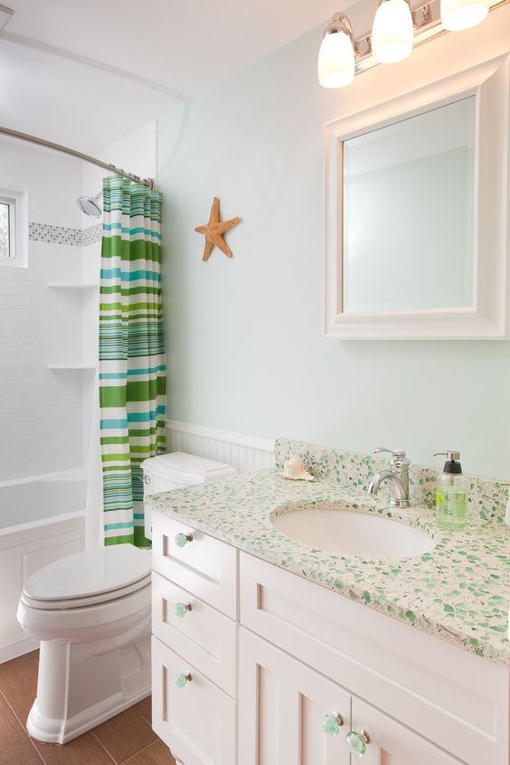 Recycled glass countertops are beautiful.  Change this out to blue and would be perfect addition to my bathroom