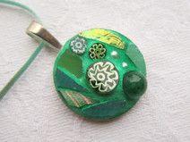 Bright green Mosaic Pendant/Medaillon