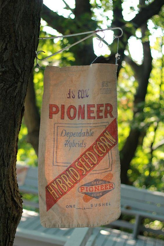 vintage pioneer seed corn sack | 1AWC DECOR | Pinterest ...