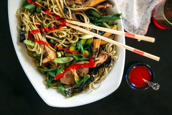 Green Tea Soba Noodles with Shiitake + Edamame (via Bloglovin.com )