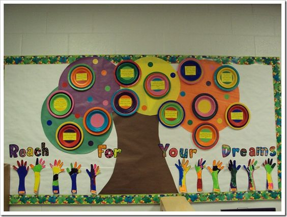 Reach for your dreams.  Great idea for the beginning of the year.: School Bulletin Boards, Classroom Bulletin Boards, Classroom Decoration, Inspirational Bulletin Boards, Classroom Ideas, Bulletinboards, Boards Classroom Decor, Back To School