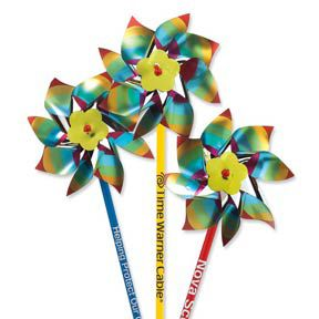 Metallic Rainbow Pinwheels - A new spin on tradeshow items! < $1/unit