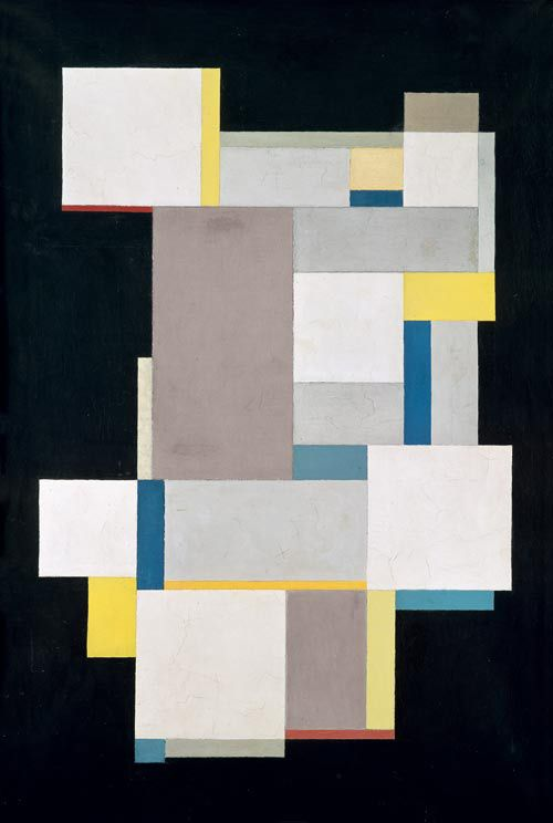 Carl Buchheister, Composition in Blue and Yellow Layers, 1926