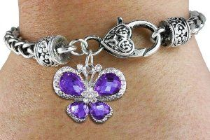 """Butterfly Charm with Large Faceted Purple Crystals"" Charm Bracelet Jewelry"