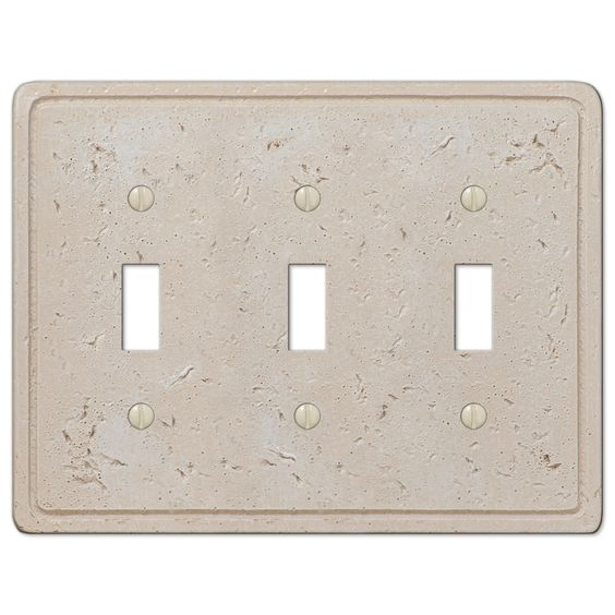Faux Stone Cream Resin - 3 Toggle Wallplate