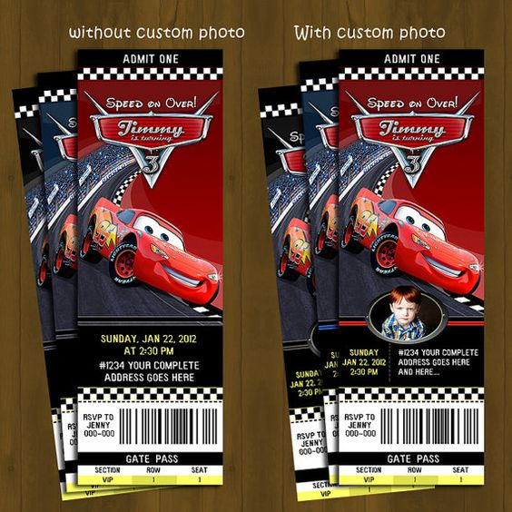CARS Lightning Mc Queen Ticket Invitation Race Car Printable – Ticket Style Birthday Invitations