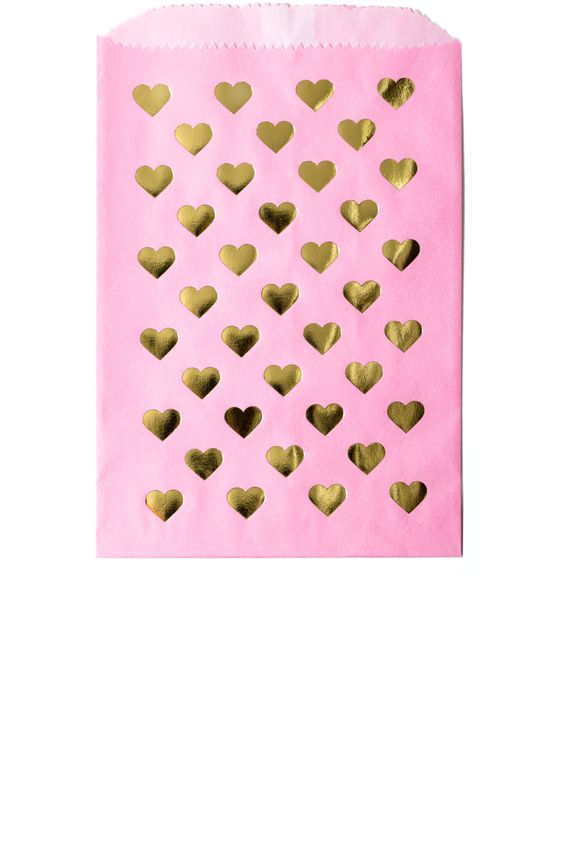 Gold Foil Heart Print Favor Bags in Pink