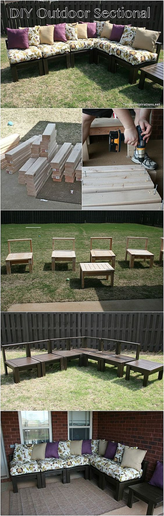 DIY Outdoor Sectional Tutorial - Pin it NOW and build it later!:
