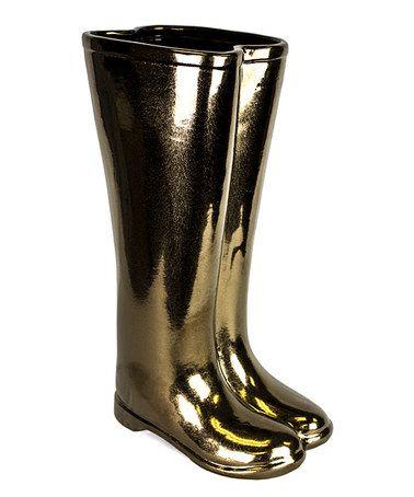 Look what I found on #zulily! Bronze Ceramic Boots Umbrella Stand #zulilyfinds