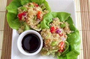 Poor girl eats well... Quinoa, Edamame & Sweet Pepper Lettuce Wraps & Tons of other veggie recipes.