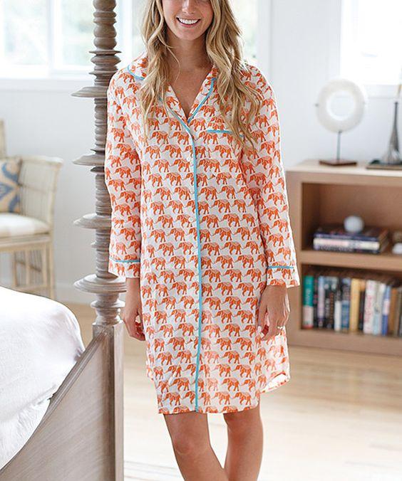 Orange & Blue Elephant Button-Up Sleepshirt